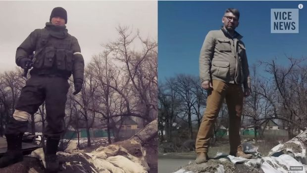 Telling 'selfies' ... right: VICE reporter Simon Ostrovsky stands in Vuhlehirsk in Ukraine, 13km west of Debaltseve. ...
