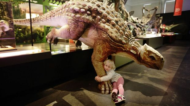 Three-year-old Adele Jermey and friend at the Australian Museum. Children will soon be able to visit the museum for free.