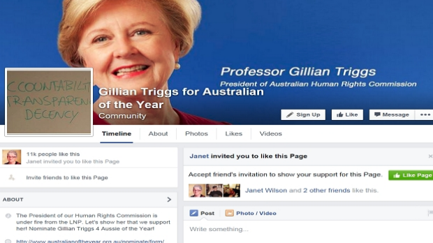 More than 11000 people have liked a page to make Gillian Triggs Australian of the Year, in a campaign started by a ...