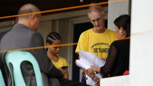 Alleged paedophile Peter Gerard Scully, 52, is arraigned in the Philippines.