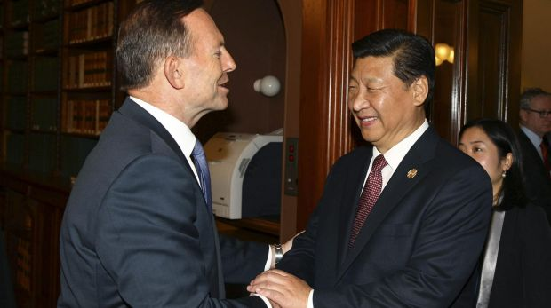 Prime Minister Tony Abbott meets Chinese Premier Xi amid Free Trade Agreement negotiations.