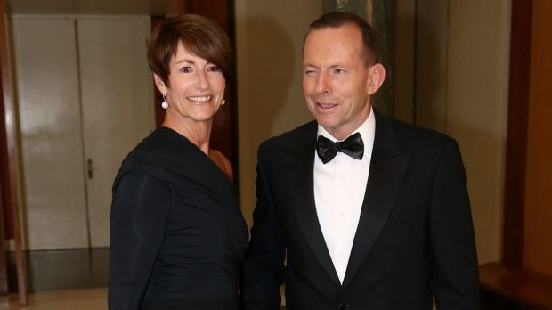 Former prime minister Tony Abbott, pictured with wife Margie Abbott, arriving for last year's Midwinter Ball.