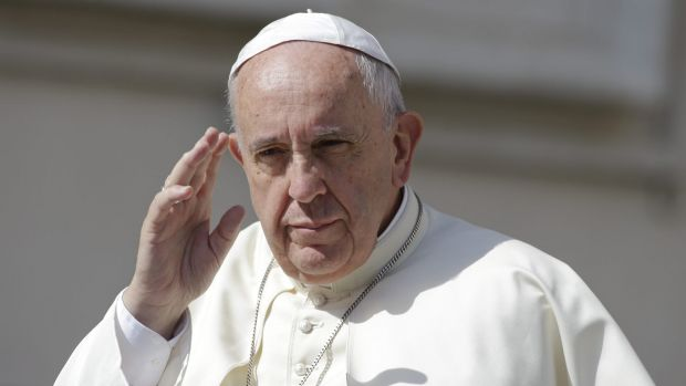 Taking stand on climate change: Pope Francis waves as he arrives for his weekly general audience, in St Peter's Square ...