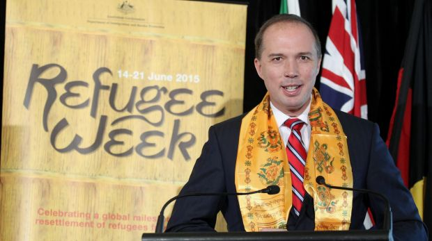 Immigration Minister Peter Dutton delivers his address during the Refugee Week event at Parliament House in Canberra ...