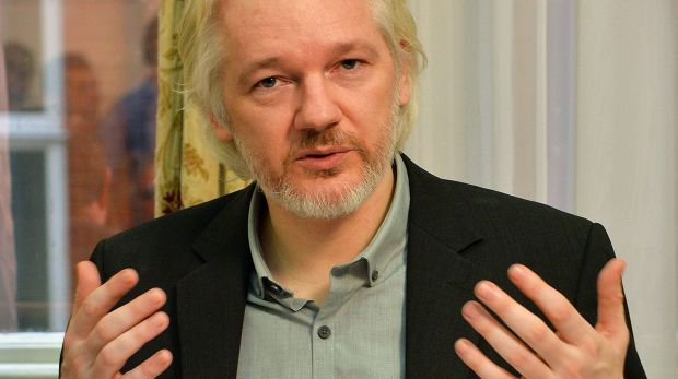 WikiLeaks founder Julian Assange in Ecuador's embassy in London.