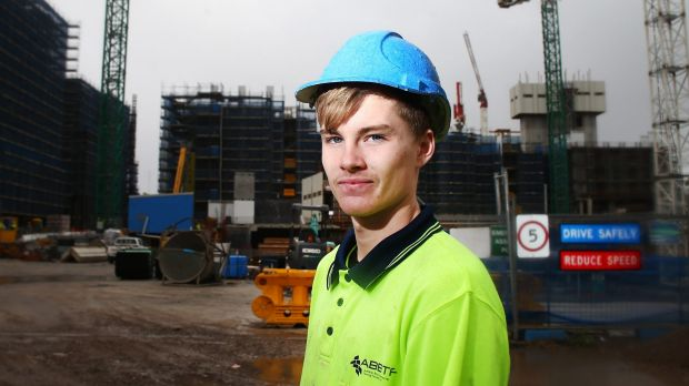 More young people might need to pursue vocational education, like apprentice bricklayer Mitchell Gill.