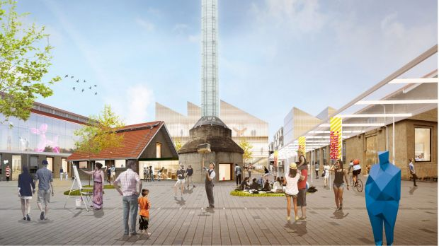 Artist's impression of the Kingston Arts Precinct taking in the Canberra Glassworks proposed in the ACT government's ...