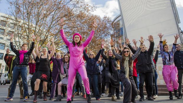 A flash mob led by dance artist Alison Plevey protesting against the shift in arts funding in 2015.