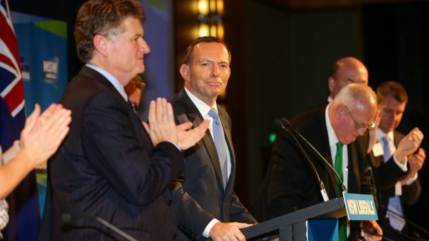 Former prime Minister Tony Abbott at the NSW Liberal State Party Council in Sydney.