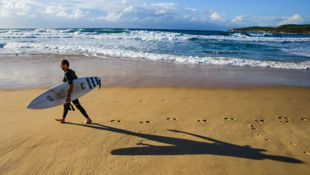 Simon Ranson from Maroubra casts a long shadow ahead of the winter solstice.
