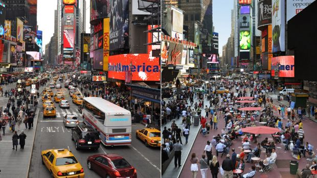Before and after: New York's Times Square, as redesigned by Gehl Architects.