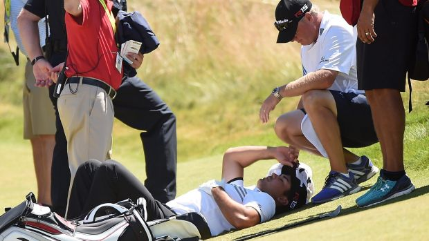 Challenges: Jason Day is tended to by his caddie as he lies on the ninth green after a dizzy spell at the 2015 US Open.
