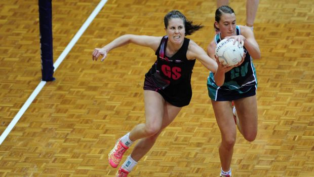 Canberra Darters player, Simone Nalder, left, and Victoria Fury player Emily Mannix in action during the 2015 Australian ...