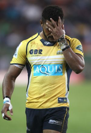 Henry Speight shows his dismay after receiving a red card against the Stormers.