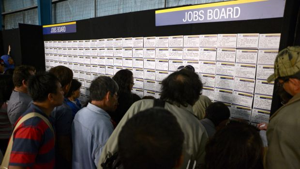 Job seekers browse job notices in Melbourne.