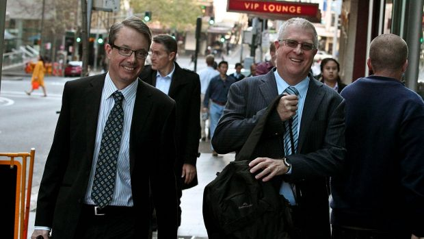 Stephen Vaughan and Ian Hall from KPMG arrive at the BBY creditors meeting at the Masonic Centre.