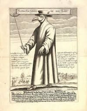 An engraving of a plague doctor from 17th century.