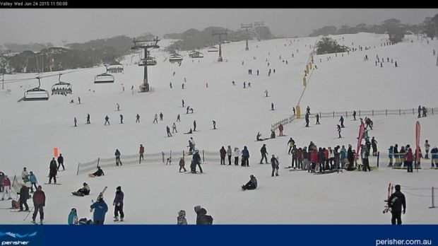 Much better conditions on Perisher's Front Valley on Wednesday.