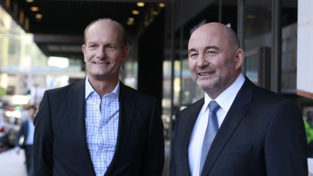 David Jones chief executive Iain Nairn (left) and Woolworths chief executive Ian Moir.