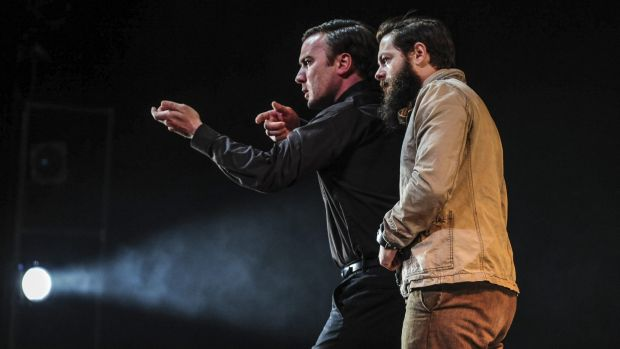 Kevin Spink as Dan Kelly and Steven Rooke as Ned Kelly in a scene from Kelly at the Canberra Theatre Centre.