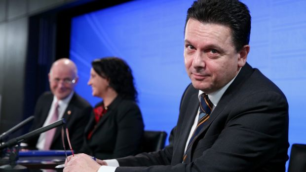Independent senator Nick Xenophon is at odds with Liberal Democrat senator David Leyonhjelm and independent senator ...
