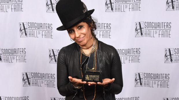 Singer-songwriter Linda Perry poses after being inducted into the Songwriters Hall Of Fame in June 2015.