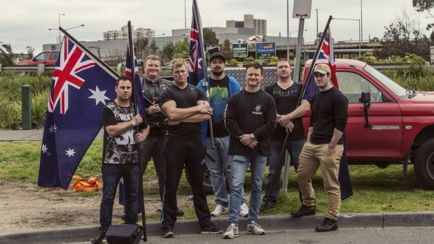 Members of the United Patriots Front, including Neil Erikson (middle), will take their anti-Islam fight to Bendigo on ...