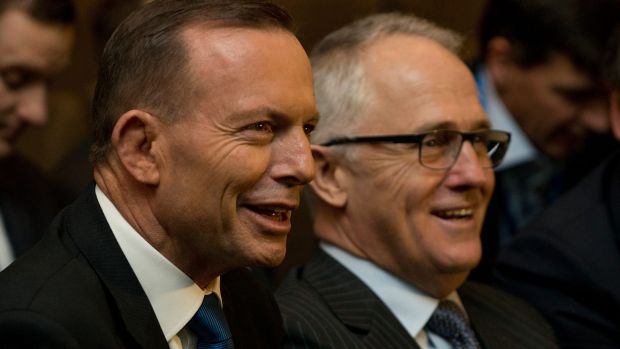 Prime Minister Tony Abbott and Malcolm Turnbull at the Federal Liberal Party Council in Melbourne on Saturday.