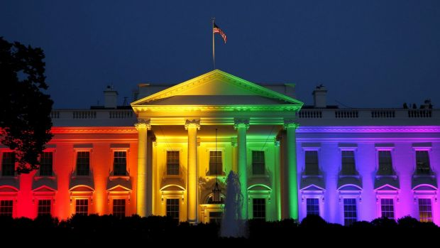 Presidential support: The White House is lit up in rainbow colours to celebrate the legislation of gay marriage.