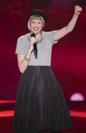 Canberra's Amber Nichols performs at her blind audition.