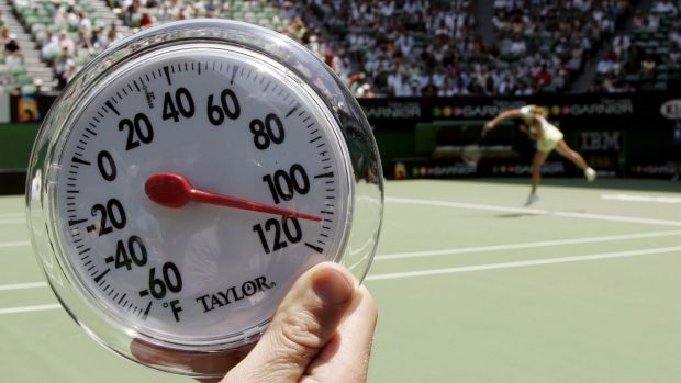 Hot, hot, hot: The temperature on Rod Laver Arena in 2007, during the first round.