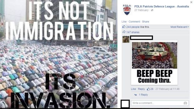 A screengrab from the Patriots Defence League of Australia Facebook page.