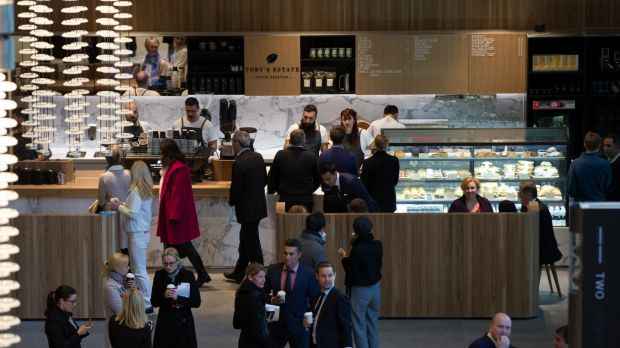 Customers queue as Barangaroo's first retail outlet opens.