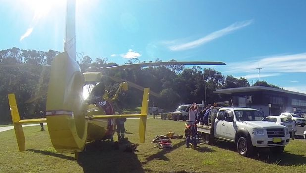 The Westpac Life Saver Helicopter at Ballina on Thursday morning.