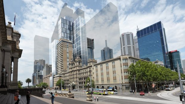 Grocon's new plan for 85 Spring Street. Shadows show the shape of the proposed Windsor Hotel tower next door to the ...
