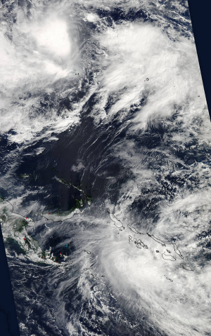 Satellite image show Chan-Hom at the upper left and Raquel below.