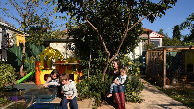 Elizabeth Slakey with her children (from left) Luca, 8, Declan, 5, and Pippi, 2. They are among those affected by the ...
