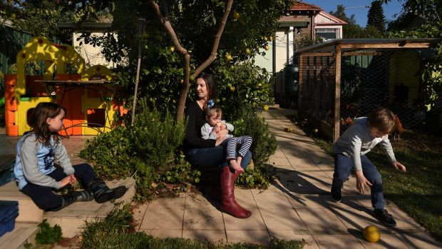 Liz Slakey with her children Luca Slakey 8 (left), Pippi Slakey 2 (2nd from right) and Declan Slakey 5 (right) in the ...