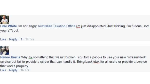Taxpayers vented their frustrations on the ATO's Facebook page.