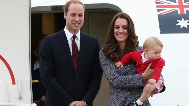 William, Kate and George on their visit to Australia last year.