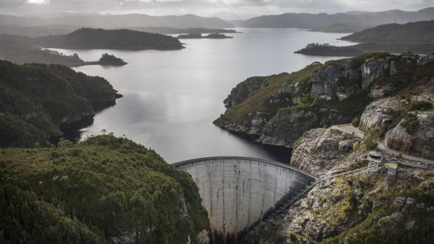 A dam bust? Gordon Dam on Lake Gordon in Tasmania's south-west in better times.