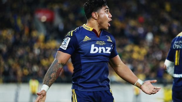 Malakai Fekitoa celebrates winning the 2015 Super Rugby final in Wellington.