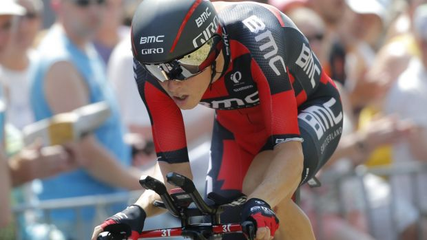Australia's Rohan Dennis strains during the first stage of the Tour de France, in a record-breaking performance.