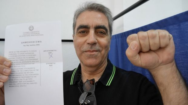 Billis Vaghelis, 59, votes 'Oxi' ('No') in the Athens suburb of Cholargos during the Greece EU bailout referendum.