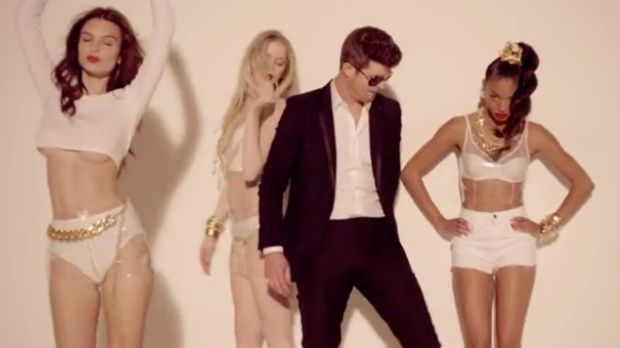 Robin Thicke in the <i>Blurred Lines</i> music video.