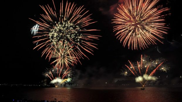 Australia Day fireworks on Lake Burley Griffin last year.