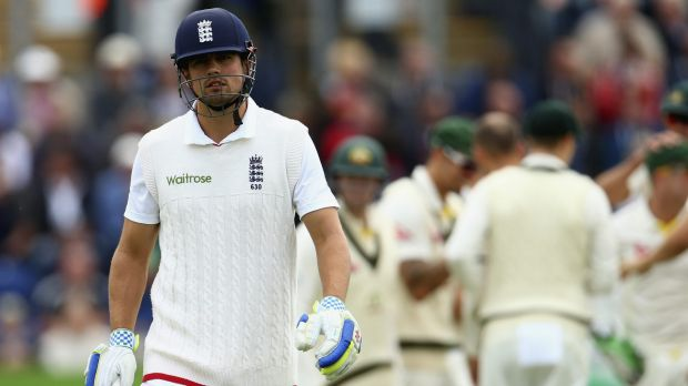 Dejected: Alastair Cook leaves the ground after being dismissed by Nathan Lyon.
