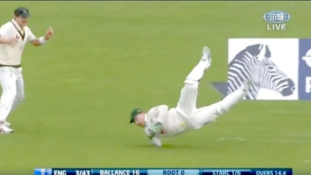 The one that got away: Brad Haddin grasses a chance from Joe Root when the England batsman was on nought.