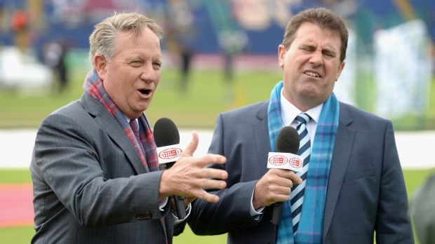 Channel Nine commentators Ian Healy and Mark Taylor during the first Test in Cardiff.