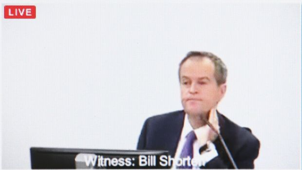Opposition Leader Bill Shorten faces questions at the royal commission on Thursay.